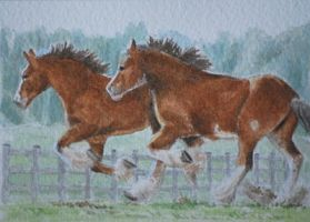Work Horses Running by waughtercolors