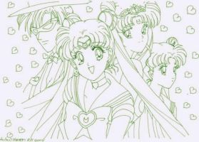 Moon,Queean, Usagi and Mask by usagisailormoon20