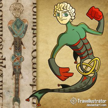 A Merman in the Book of Kells by travellustrator