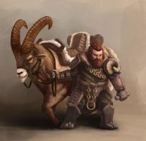 Dwarf with mount 01 by LeonardsVuskarnieks