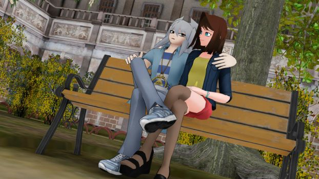 Sitting at the park by Gold59