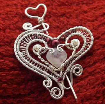 Valentire Wire Paper Heart Pin by WiredElements