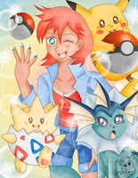 Misty and Her Pokemon by Flareon-Jupiter