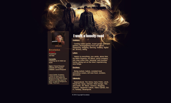 Supernatural Profile Layout by Toshichi