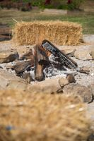 Fire Pit and Square Hay Bail Side Perspective by CarolineRutland