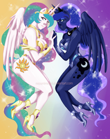 MLP Celestia and Luna by neoanimegirl