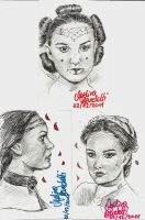 Padme Amidala Sketch Cards by AngelinaBenedetti