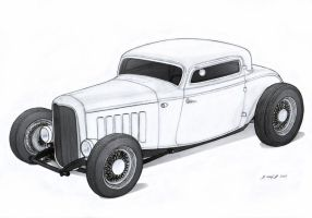 1932 Ford Three Window Coupe Hot Rod Drawing by Vertualissimo