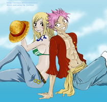 Natsu x Lucy ...they do cosplay as Nami and Luffy by Juviaaa