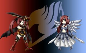 Erza's 2 Armor - Wallpaper by ng9