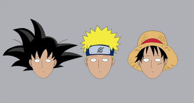 Saitama in different hairstyles by a7md93