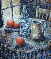 Still Life Oil Paint Over Cardboard by Boias