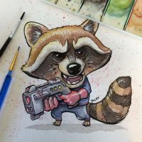 Rocket Raccoon watercolor and ink by RockyDavies