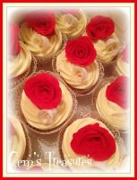 Red and White Bridal Cupcakes by gertygetsgangster