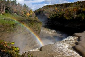 1797 LetchworthPark Rainbow over Middle Falls 1 by FrodoPrime