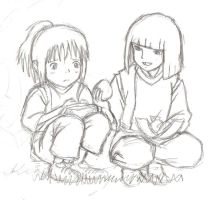 Chihiro and Haku - WIP by little-ampharos