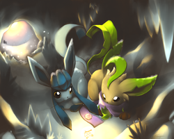 Glaceon and Leafeon by RedTyphlo