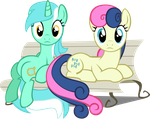 Lyra and Bon Bon (Bench) by nikolaz15