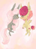 Two Unnamed Ponies by Halliova