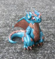 Copper Plated Teal Polymer Clay Dice Dragon by MiniMythicalMonsters