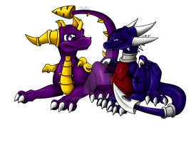 cuddling spyro and cynder by Minerea