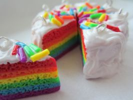 Rainbow Cake Charm by puddingfishcakes