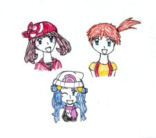 May, Misty and Dawn Doodles by SalmonSuzie