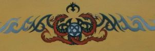 Heartagram Dragon Tribal Painting by threepussycats