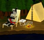 Pregnant anthro Mightyena - Camping by Doom-the-wolf