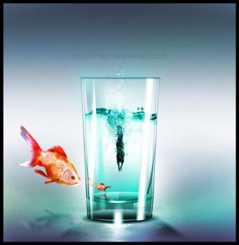 GoldFish and diver in my Glass by RehanKhan