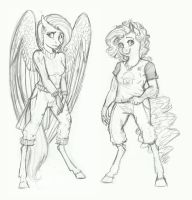 Zombie AU Doodle- Fluttershy and Pinkie Pie by Earthsong9405