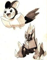 Emolga and Gigalith by Macuarrorro