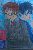Blue Exorcist Yukio and Rin by Bluedragoncartoon