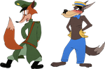 Fauntleroy Fox and Adolf Wolf outfit switch by AdolfWolfed4Life