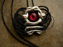 Medusa Charm - Silver Black - Red Slit Pupil Eye by LadyPirotessa