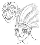 Carthaginian Mask and Priest Sketches by DaBrandonSphere