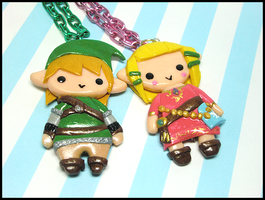 Link + Zelda Necklaces by GrandmaThunderpants