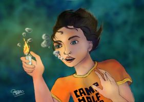 Percy Jackson plays with fire by Salma-H