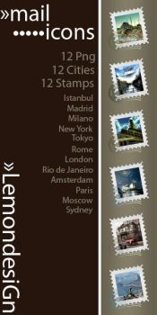 Mail Stamp Icons by lemondesign