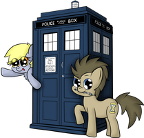 the Doctor and his Derpy companion by chibi95