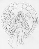 Stained Glass Fairy Sketch by OtakuEC