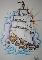 Ship Tattoo Design by itchysack