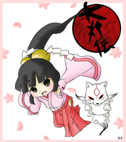 Kagu and Chibimaterasu by Icy-Snowflakes