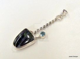 Labradorite, Blue Topaz and Sterling Silver Pendan by Janski-Designs