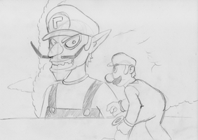 BSC Doodle: Attack on Waluigi (Youtube) by ADHedgehog