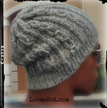 Loom Knit Slouchy Hat Free Pattern -  Chain Links by LoomaHat