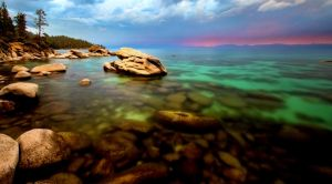 Tahoe's East Shore on a Colorful August Evening by sellsworth