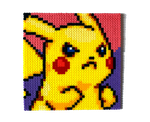 Angry Pikachu Perler Portrait by Aenea-Jones