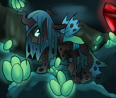 Queen Chrysalis in Her Lair by wildberry-poptart