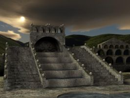 3D Background: Stepped Temple by Sheona-Stock